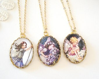 Flower Fairy Necklace, Vintage Faerie Jewelry, Feminine Jewelry, Personalized Necklace, Gift for Her