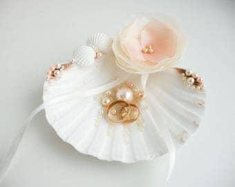 Seashell ring holder Beach Ring Holder, Seashell Ring Bearer, Beach Ring Bearer, Seashell ring pillow, Beach Wedding Shell Ring Bearer blush