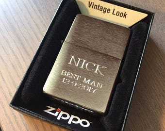 Personalized Zippo Lighter, Without slashes, Engraved Zippo, Custom Zippo, Groomsmen Gifts, Father's day, Birthday, Anniversary Gift Z23025