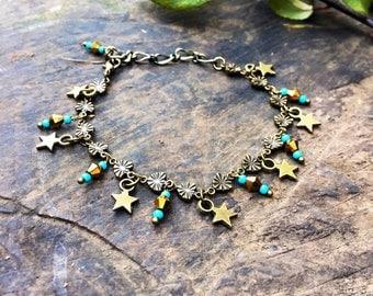 Celestial charm bracelet, turquoise star bracelet, boho charm bracelet, gift for her, christmas present, secret santa present, uk shop