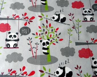 "fabric ""panda"" on a grey background"