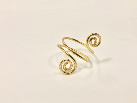 Wire wrapped brass adjustable ring