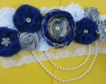 Royal Blue and Silver Maternity Sash