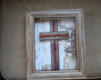 Barn wood cross with coral