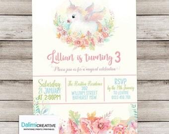 Unicorn Invitation - Unicorn Birthday Invitation - Magical Invitation - Pretty Invitation - Pink Unicorn Invite - Print Yourself Invitation!