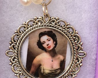 Sirens -Handmade Pendant- Silver Vintage Style Framed Photograph, Freshwater Pearls & Crystal Beads- image, Liz Taylor