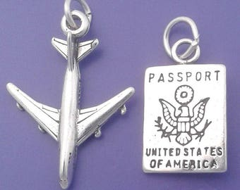 US PASSPORT and Jet AIRPLANE Charm Set .925 Sterling Silver Travel Pendant - lp4131a