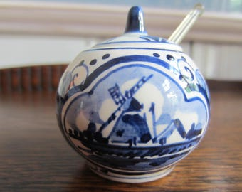 Vintage Delft Blauw Holland Blue And White Mustard Jar With Spoon/ Small Jar/ Porcelain Jar/ Condiment Jar/ Dutch / Windmill