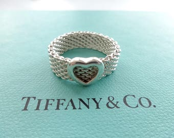 Authentic Tiffany & Co. Somerset Mesh Heart Sterling Silver Band Ring Size 8