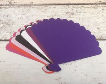 10 Super Large Ladies Fan Die Cut Shapes for Card Toppers Card Making Scrapbooks