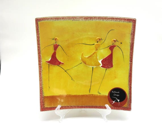Art glass plate / dish with 3 dancing girls in relief, yellow, orange, red, black, Rahbeesh Design, display item, made in Australia