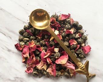 Organic Dragon Pearl Tea. Organic Green Tea. Jasmine Infused. Loose Leaf Tea. Fruity Green Tea. Vegan Friendly. Herbal Tea. Green Tea Pearls
