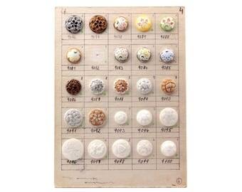 Original sample card 24 vintage Czech hand molded glass buttons 1972-41