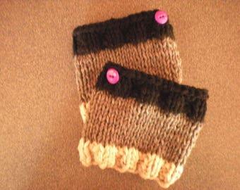 Girl's Handknit Boot Cuffs; Girl's Boot Cuffs, Handknit Boot Cuffs, Girl's Beige Boot Cuffs, Girl's Knit Tan Boot Cuffs