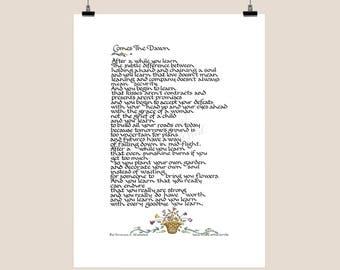 Comes the Dawn Print - Calligraphy - Illustration - Poetry - Inner Strength - Women