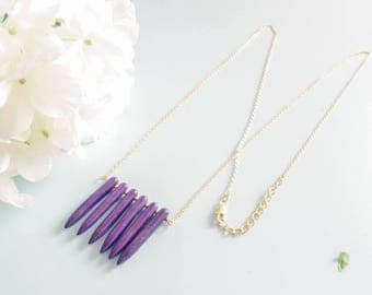 "Necklace ""Purple Spike"" gold plated and Howlite"