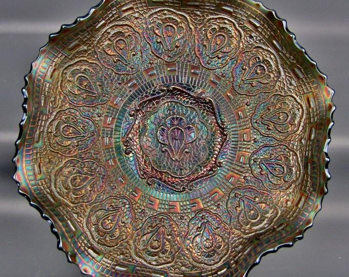 Carnival Glass - Fenton PERSIAN MEDALLION Blue Ruffled Bowl