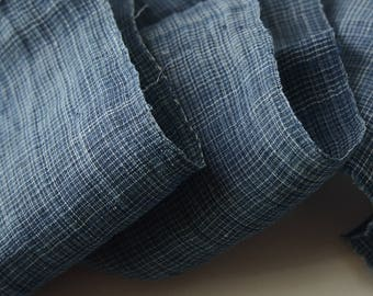 c.1900 Antique Japanese Shima Indigo Linen Fabric Piece Blue White - 106-B8