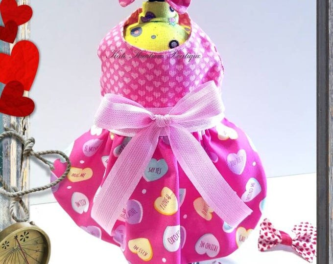 Featured listing image: Dog dress/Valentine's Pet Dress/Pink Dress