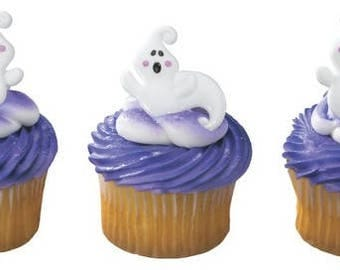 12 Ghost Cupcake Rings Halloween Ghosts Toppers Party Favors
