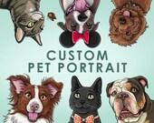 Custom Pet Portrait    Hand-Drawn Illustration, Caricature, Cartoon, Pets    5x7, 8x10, 11x14