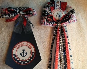 Mommy & Daddy Nautical Ocean Sailor Theme set     Baby shower corsage and Tie