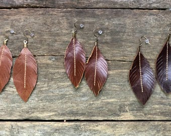 Leather Feather Earrings Brown Western Leather Earrings, Genuine Leather, inspired by Joanna Gaines