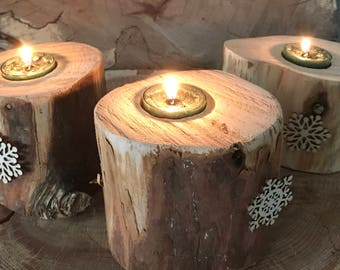Reclaimed Wooden Christmas Candleholders ( set of three)