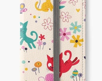 Folio Wallet Case for iPhone 8 Plus, iPhone 8, iPhone 7, iPhone 6 Plus, iPhone SE, iPhone 6, iPhone 5s - Playful kitty cats design case