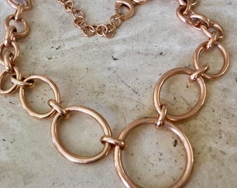 Milor Italy, Really Chunky Chain Bronze Necklace.22 Inches.