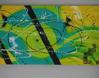 Acrylic Abstract Painting for Home Décor, Large Wall Art – 'Worm Hole' Original Art by Kenneth Polisse Jr.