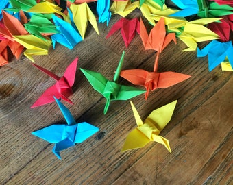Origami Birds 9cm X 100 Bright Colour Mix Origami Paper Cranes - Folded Paper Birds - Wedding Decoration - Baby Shower - Paper Decorations
