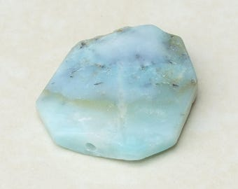 Amazonite Faceted Bead - Amazonite Stone - Amazonite Slab Bead Pendant - Center Drilled - 32 mm x 37 mm - 4184