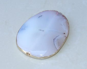Large White Agate Druzy Slab Bead  - Clear White Druzy Slab Bead Pendant - Druzy Agate Pendant - Gold Edge - 47 mm x 63 mm - 4292