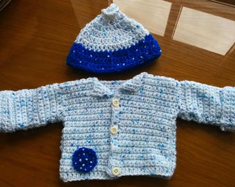 Baby Cardigan and Hat Set, Blueberry Cookies, Newborn Clothing
