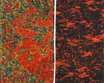 Vintage kimono silk fabric-2 pcs #7465