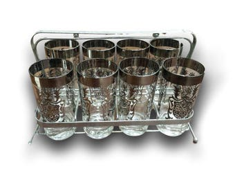 Mid Century Barware - MCM Glasses - Silver Rimmed Tumblers - Set of 8