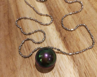 Tahitian natural black Pearl necklace Sterling silver