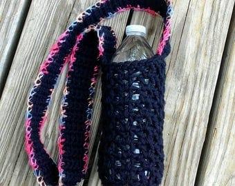 Crochet water bottle holder water bottle carrier black