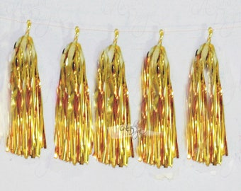 Metallic Gold Tissue Paper Tassel Garland DIY KIT | Party Decor | Wedding Garland | Photo prop | Balloon Pre-cut paper banner | Clearance