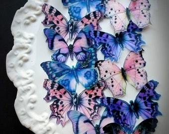 Pink Purple Gray Edible Butterflies Cake & Cupcake Toppers,