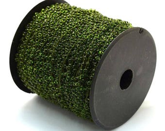 30ft/Spool Dark Olive Green Transparent Seed Beads Beaded Cord