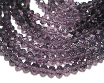 1 Strand Transparent Purple Faceted Rondelle Glass Beads 4x3mm ( No.19A)