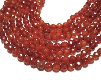 1 Strand Orange Red Agate Beads 4mm Round Faceted Natural Stone Beads
