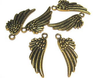 10pcs Antique Gold Angel Wing Charms Pendants Double sided 29mm