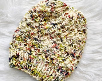 Hand-dyed Wool Knit Hat, Ready to Ship, Faux Fur Pom Pom, 100% Wool Bulky Knit Hat