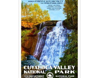 """Cuyahoga Valley National Park WPA-style poster. Color. 13"""" x 19""""  Original artwork, signed by the artist!"""