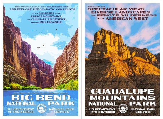 Texas National Parks Big Bend Guadalupe Mountains WPA - Texas national parks