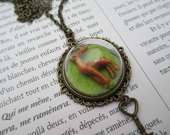 Necklace cabochon globe deer DOE fall