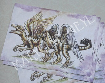 map postcard dinosaur velociraptor